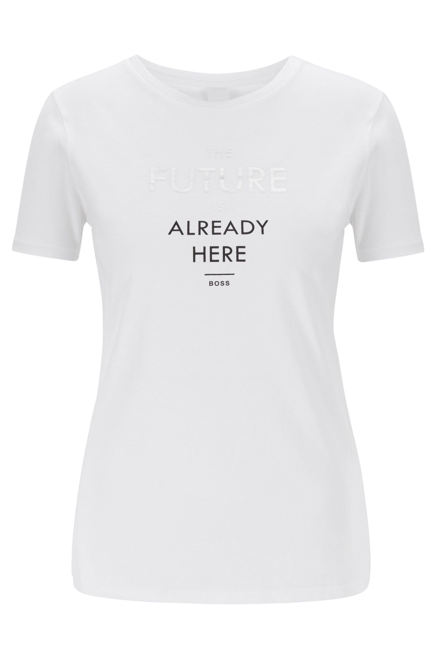 T-shirt à col rond avec inscriptions imprimées en transfert à la finition mate, Blanc