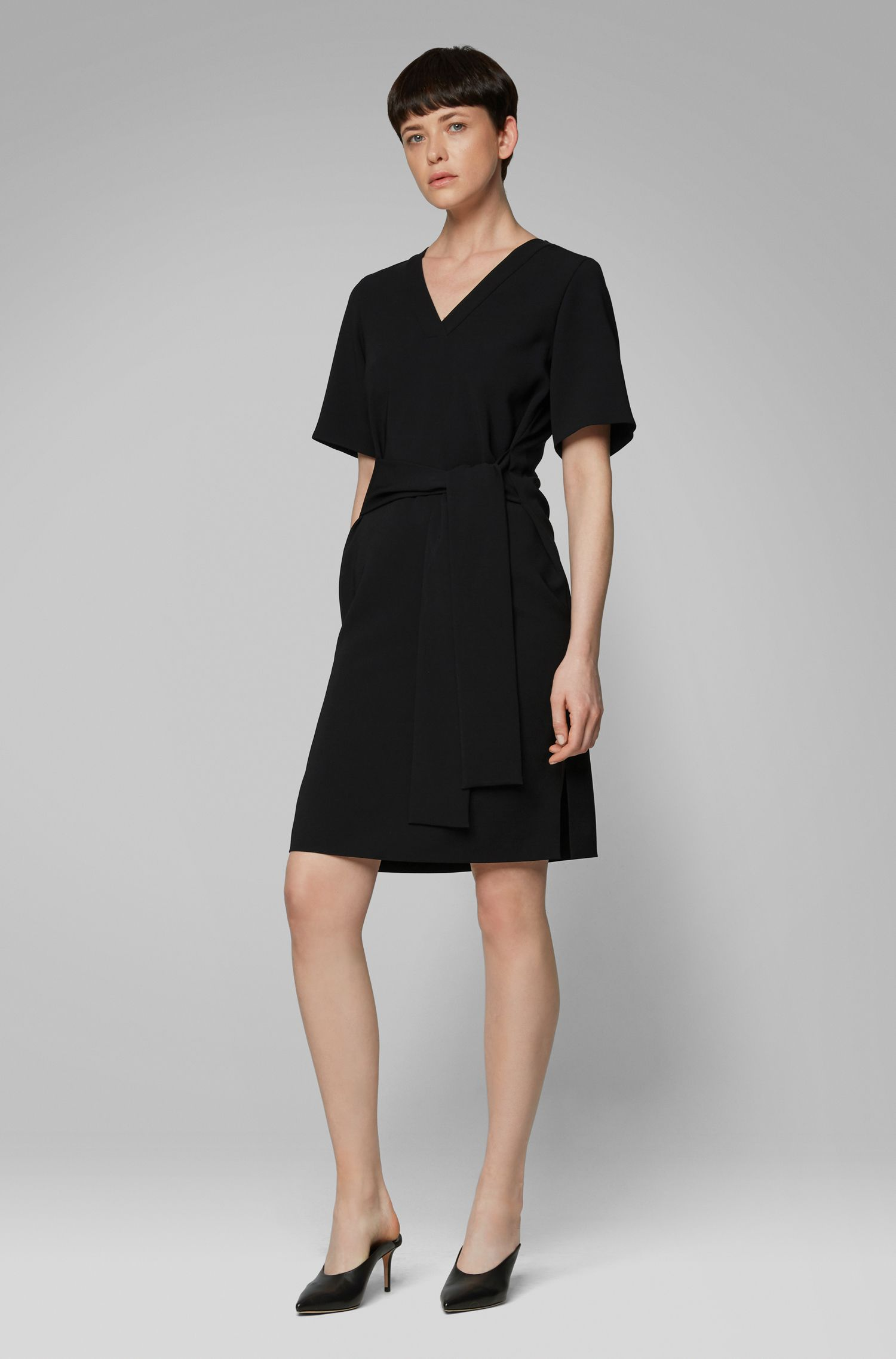 Relaxed-fit dress in Japanese crepe with tie belt, Black