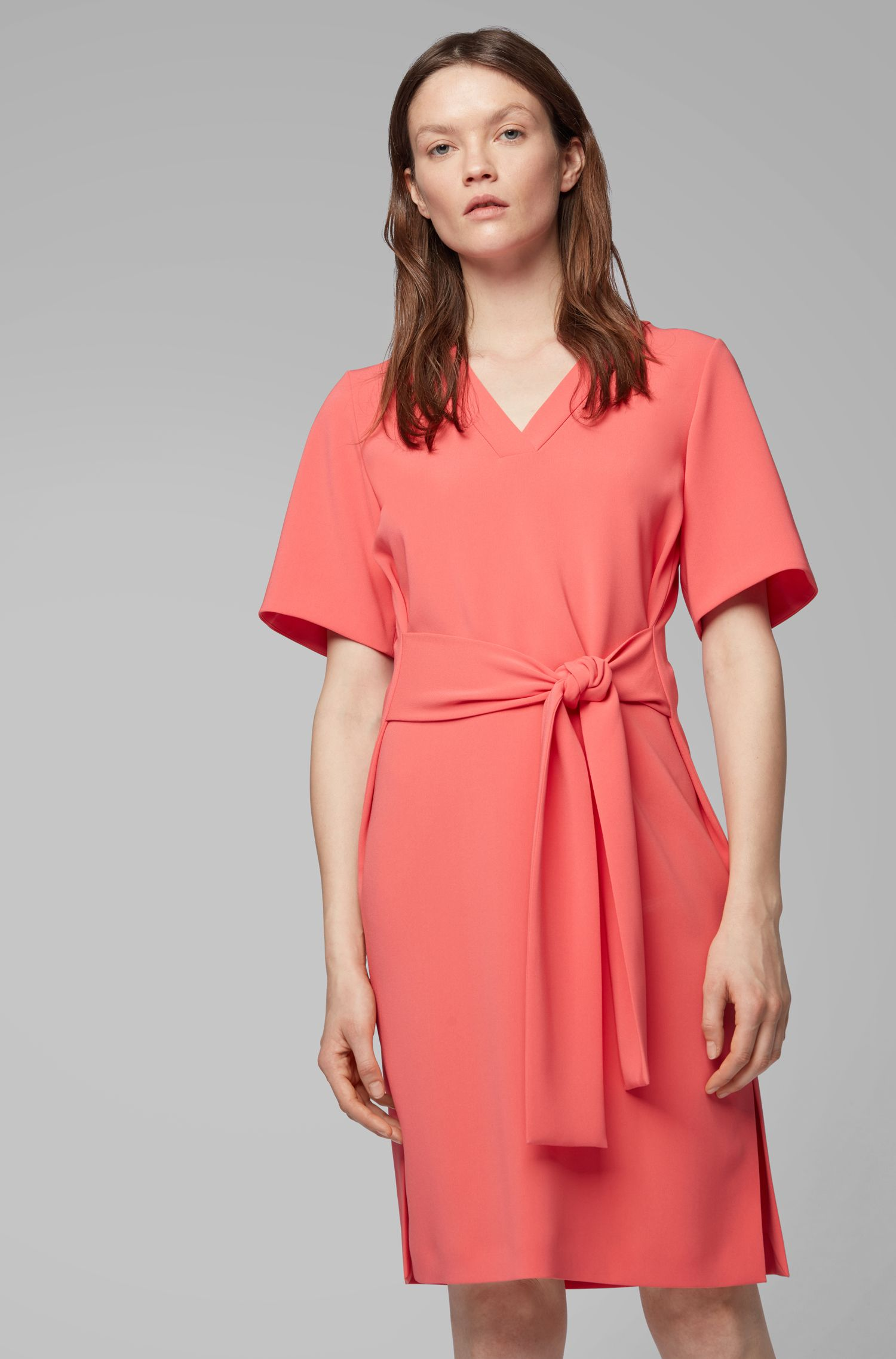 Relaxed-fit dress in Japanese crepe with tie belt, Pink