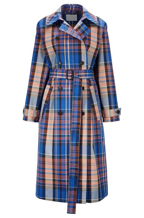 Checked trench coat with double-breasted closure, Patterned