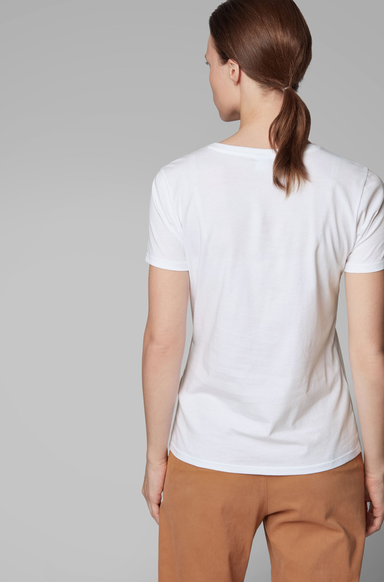 Crew-neck T-shirt in cotton with foil-print logo, White