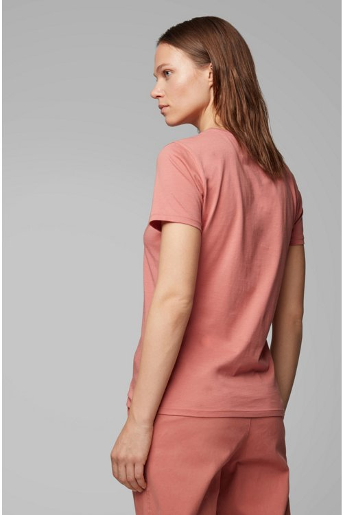 Hugo Boss - Camiseta de cuello redondo en algodón con logo estampado de lámina - 4