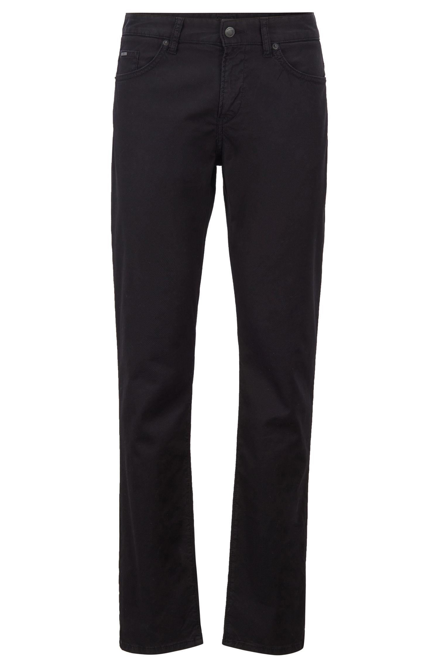 Slim-fit jeans in 3D-structured stretch denim, Black