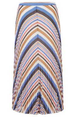 Midirok van plissmateriaal met meerkleurige strepen