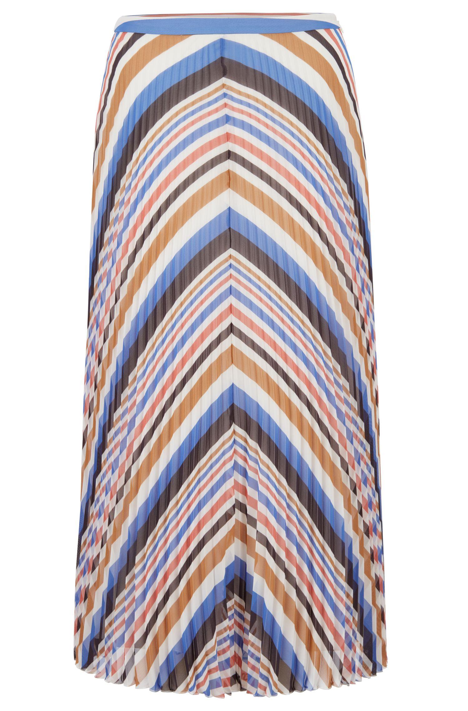 Jupe mi-longue en tissu plissé à rayures multicolores, Fantaisie