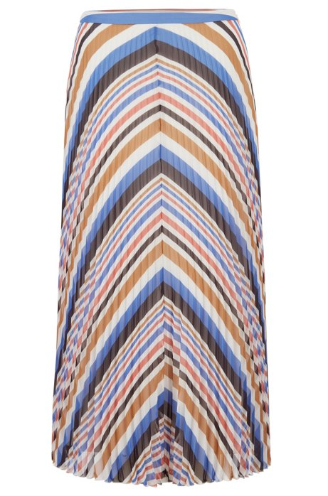 Midi skirt in plissé fabric with multicoloured stripes, Patterned