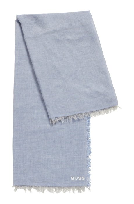 Square scarf in melange fabric with printed logo, Light Blue