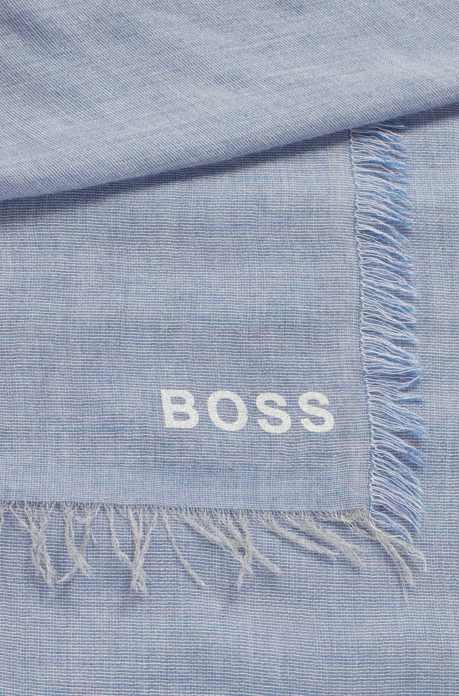 Foulard carré en tissu chiné à logo imprimé, Bleu vif