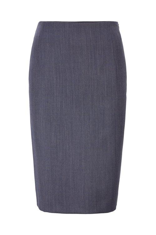 Hugo Boss - Falda lápiz en lana virgen estampada con elástico natural - 1