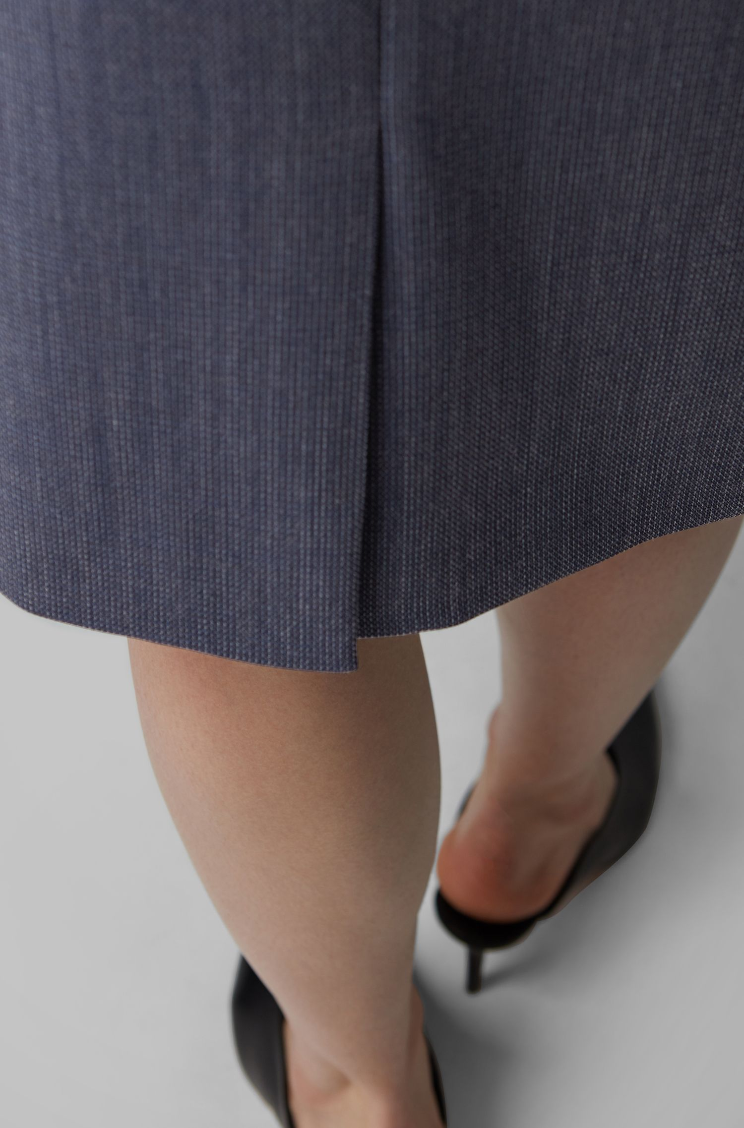 Pencil skirt in patterned virgin wool with natural stretch, Patterned