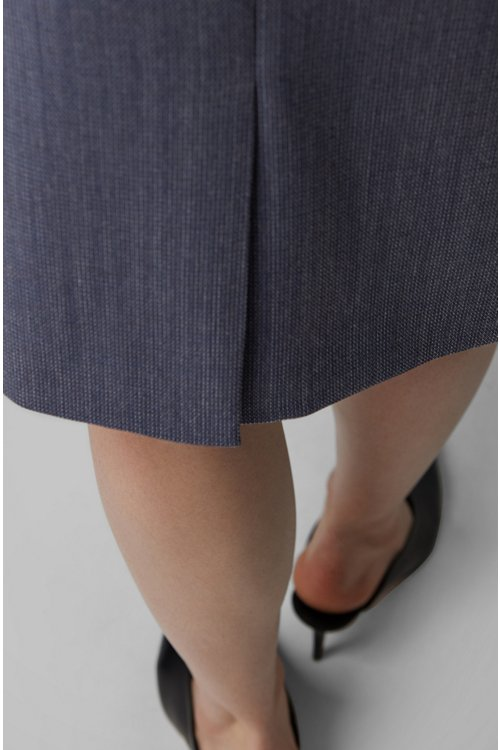 Hugo Boss - Falda lápiz en lana virgen estampada con elástico natural - 4