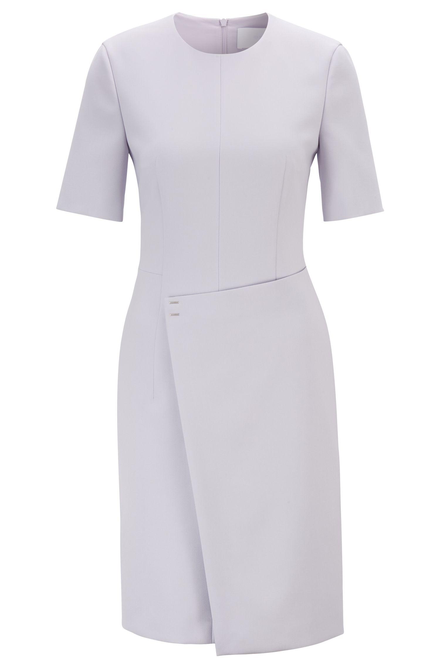 Robe à manches courtes en tissu portugais, avec jupe portefeuille, Violet clair