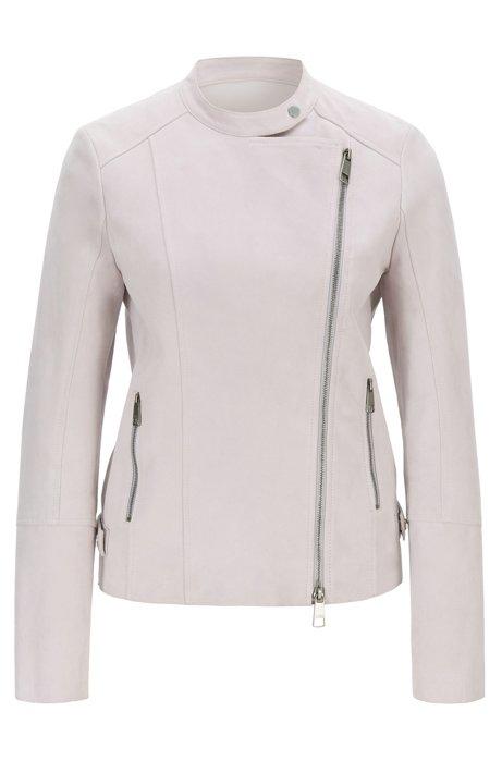 Biker jacket in super-soft suede with asymmetric zip, Light Purple
