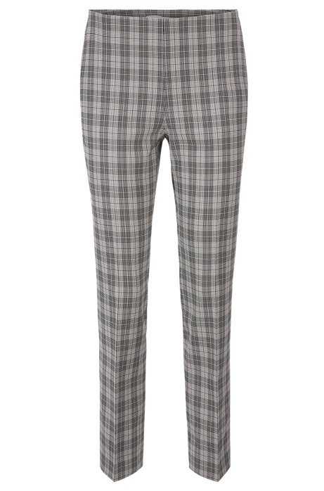 Pantalon Regular Fit en coton mélangé à carreaux, Fantaisie