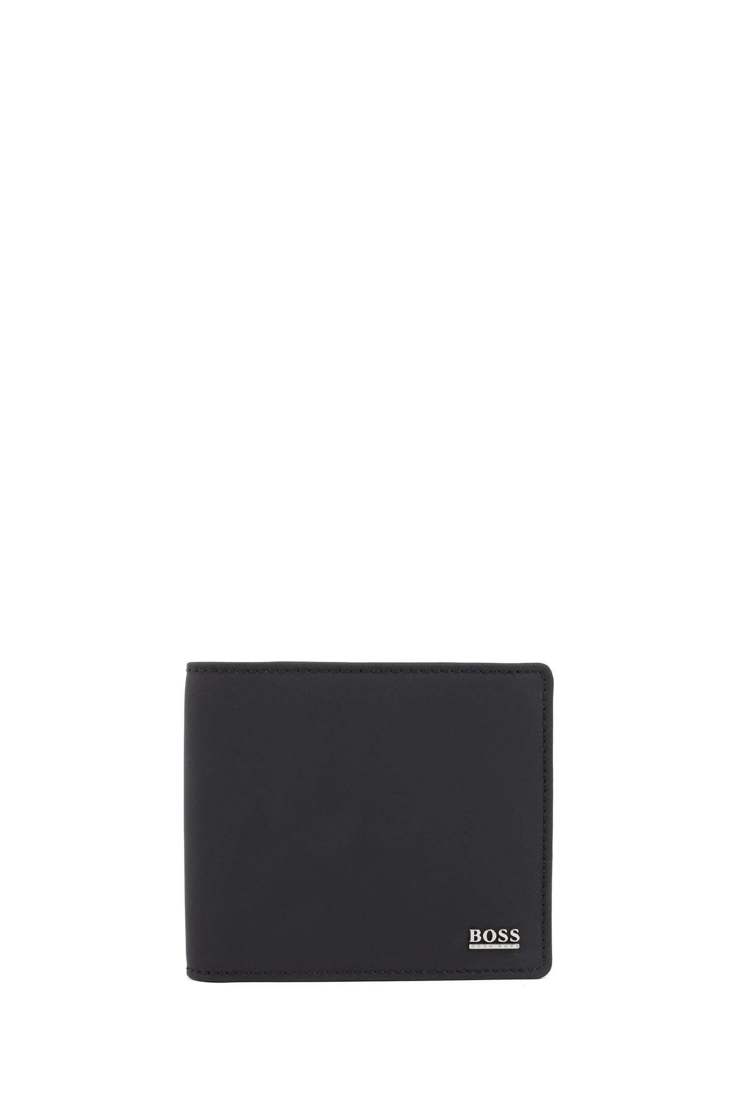 Portafoglio bi-fold della collezione Signature in pelle gommata italiana, Nero