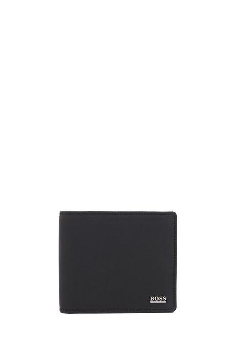 Signature Collection Klapp-Geldbörse aus gummiertem italienischem Leder, Schwarz
