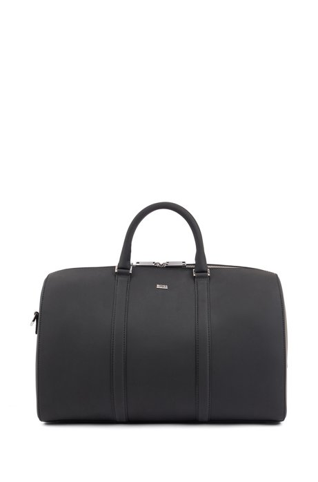 Signature Collection holdall in Italian leather with rubberised finish, Black
