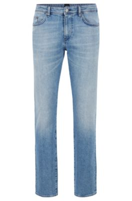 Slim-fit jeans in Italian ring-spun stretch denim, Turquoise