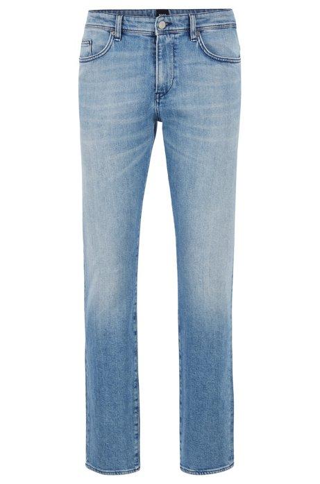 Slim-Fit Jeans aus ringgesponnenem italienischem Stretch-Denim, Türkis