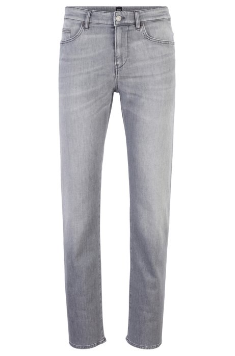 Jeans slim fit in morbido denim grigio italiano, Grigio