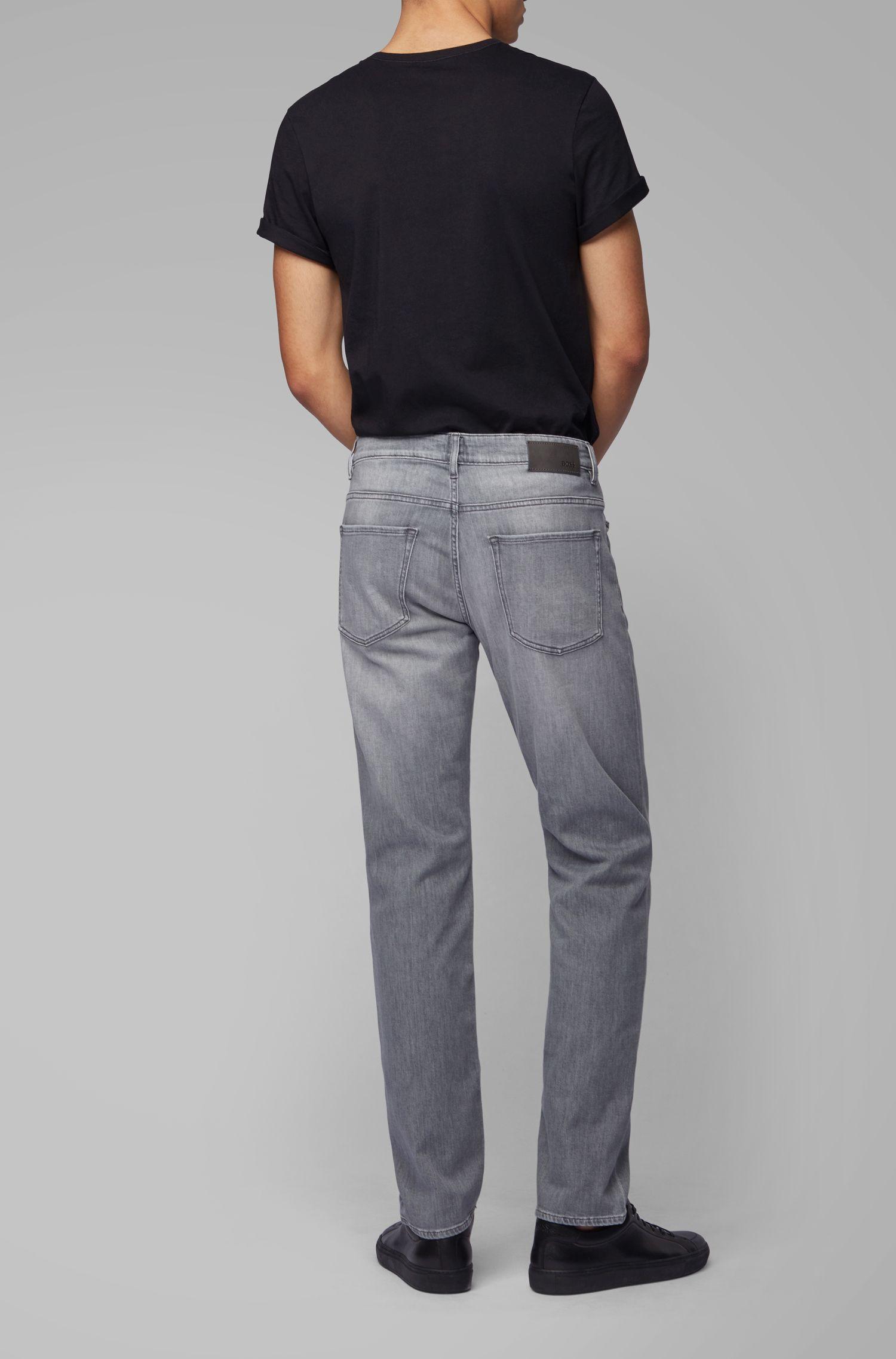 Slim-fit jeans van grijs, Italiaans denim met zachte touch, Grijs