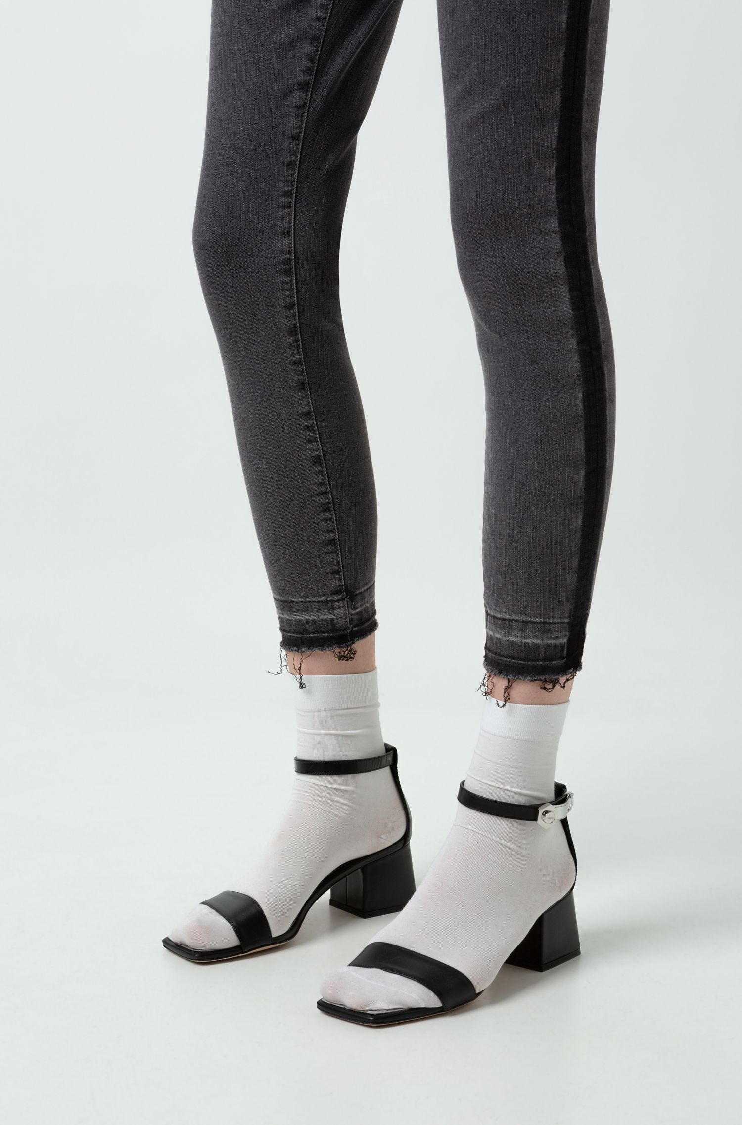 Skinny-fit cropped jeans with washed-effect side stripe, Grey