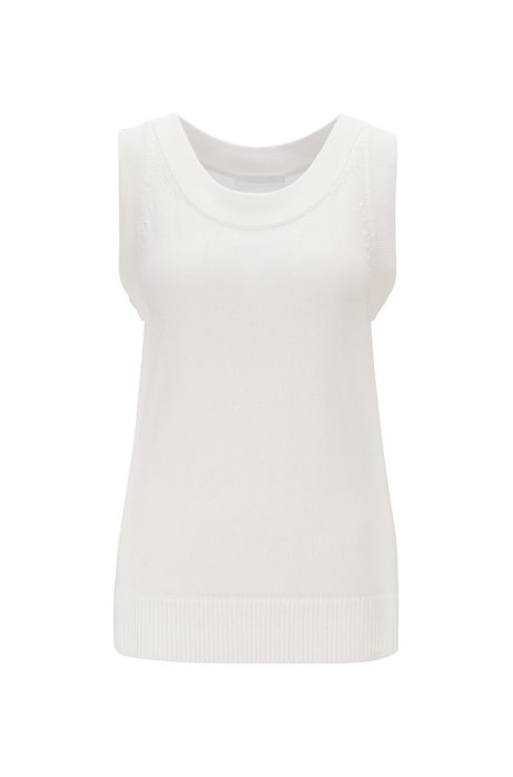 Relaxed-fit sleeveless top in knitted fabric, Natural
