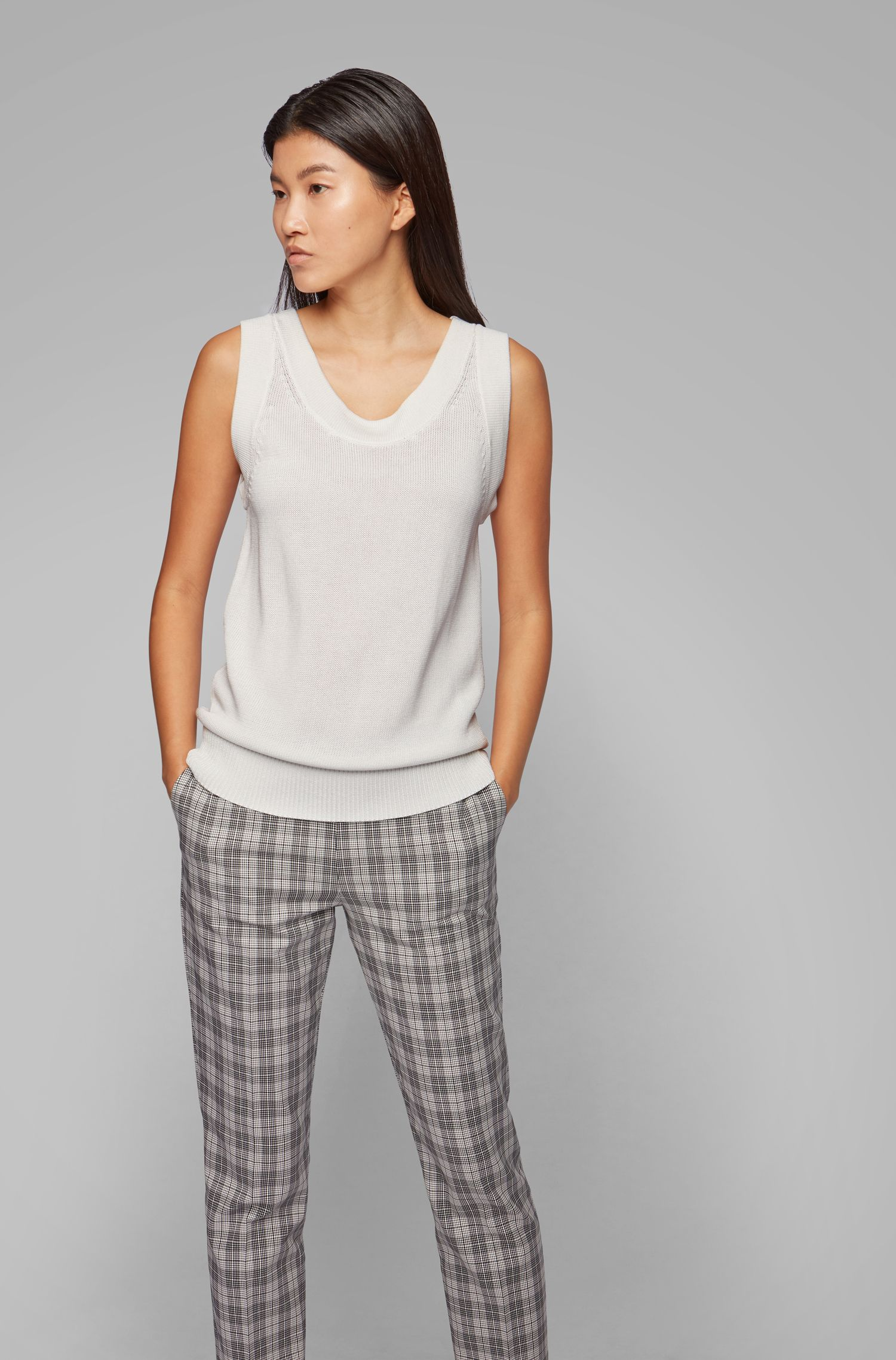 Top sans manches Relaxed Fit en maille, Chair