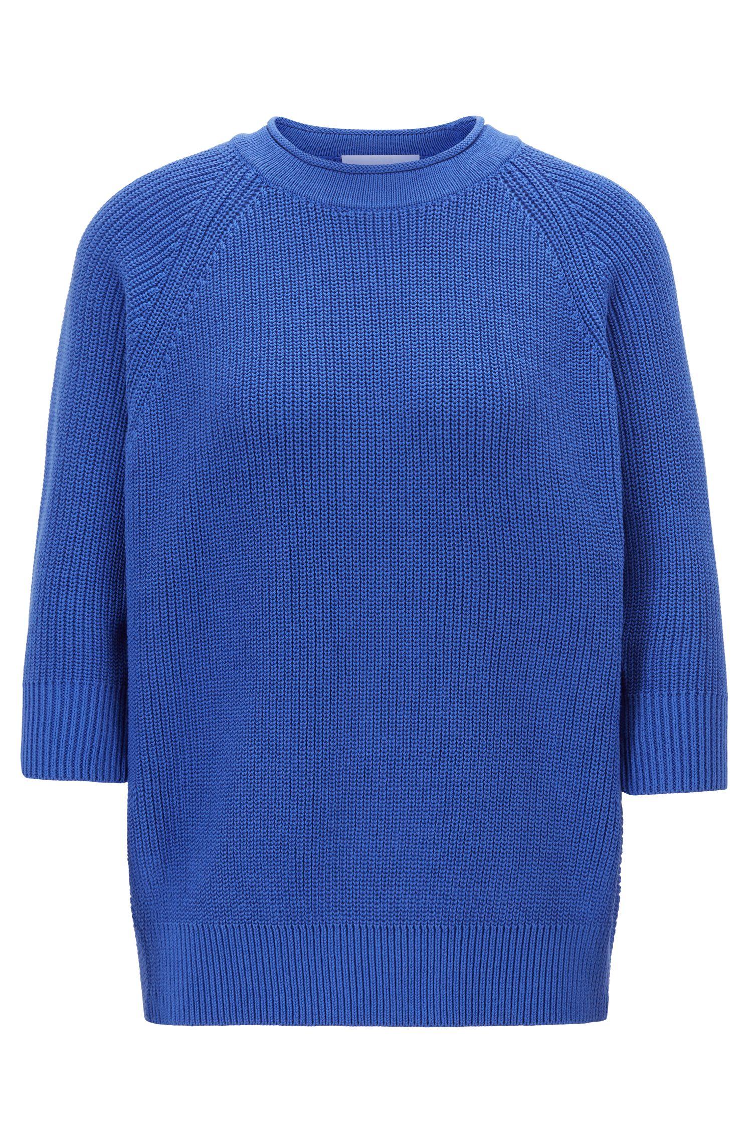 Pull Relaxed Fit en coton à motif intarsia color block, Bleu
