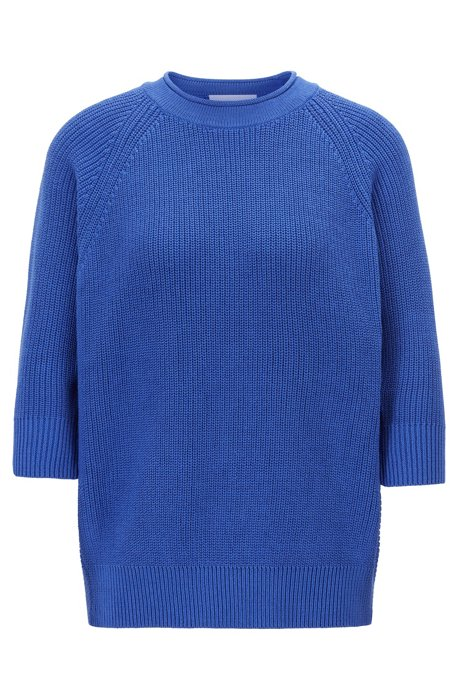 Relaxed-fit cotton sweater with raglan sleeves, Blue