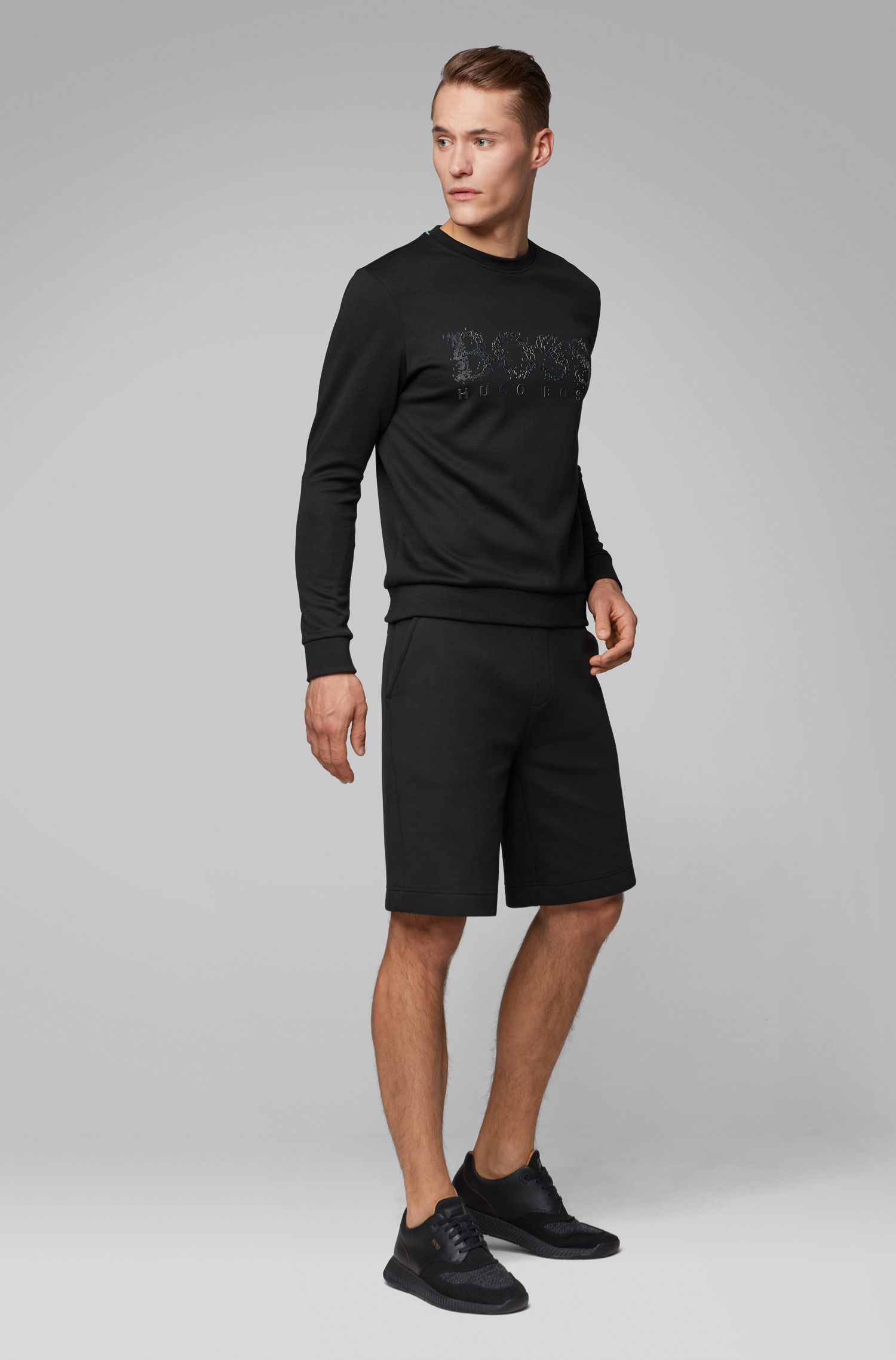 Slim-fit sweatshirt with seasonal logo artwork, Black