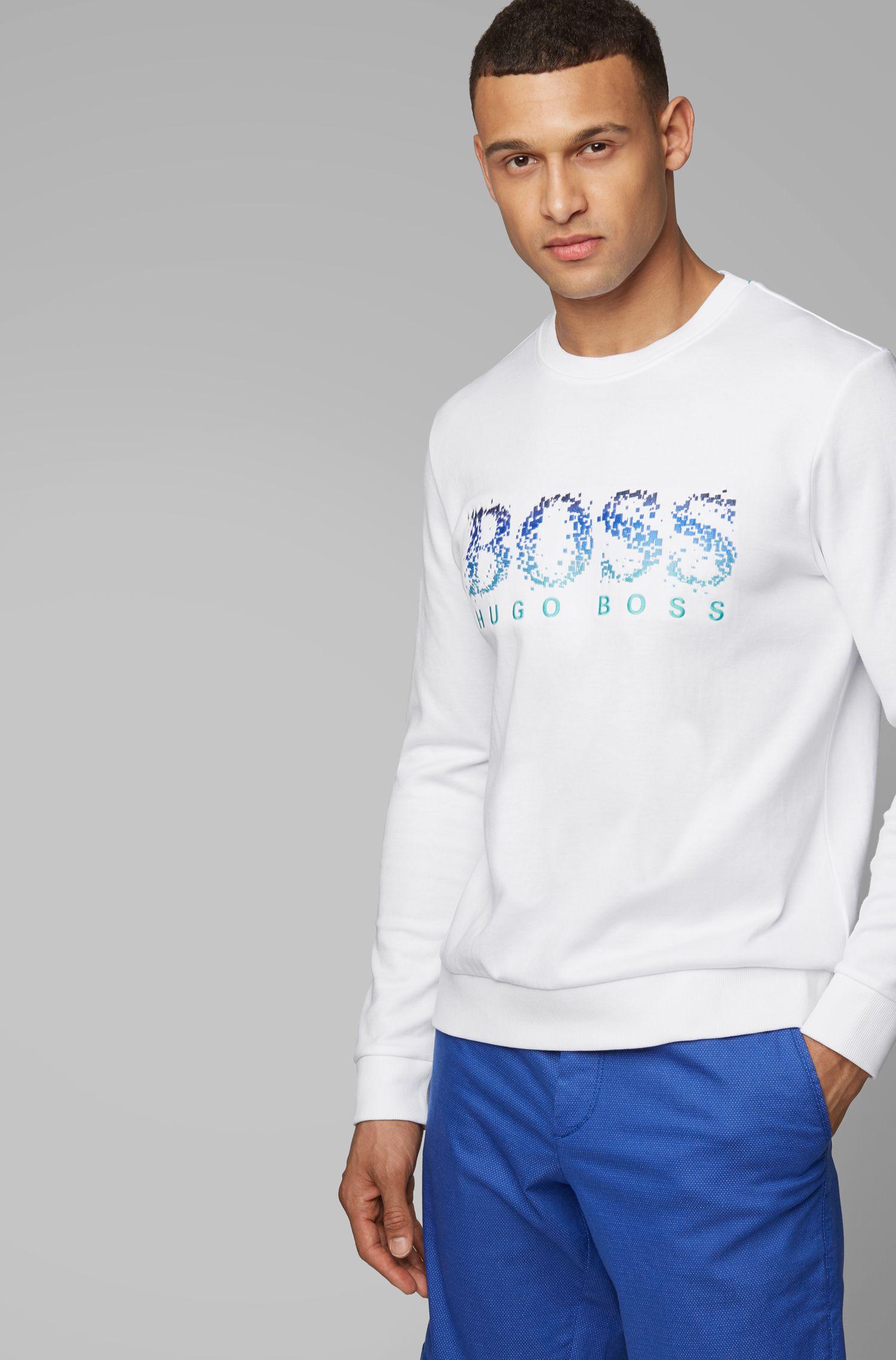 Slim-fit sweatshirt with seasonal logo artwork, White