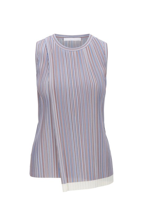 Sleeveless top in striped plissé with wrap front, Patterned