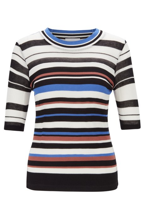 Slim-fit top in striped jersey with mixed ribbing, Patterned