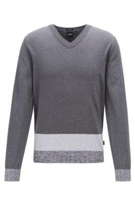 V-neck sweater in Italian Pima cotton with colourblock hem, Grey