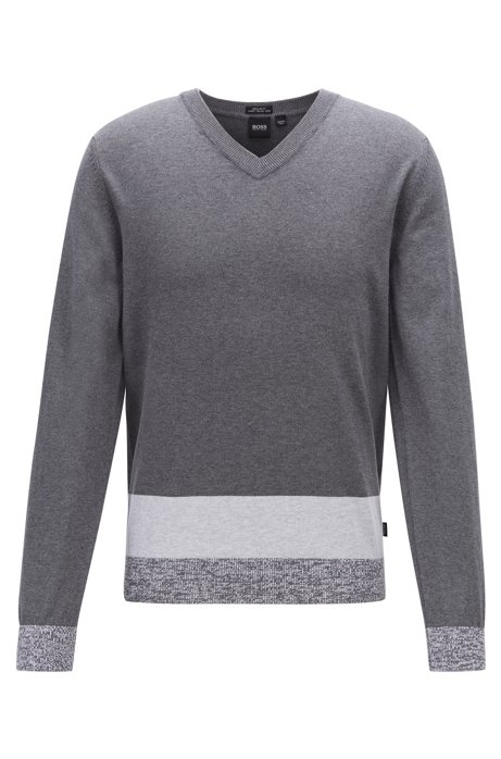 V-neck sweater in Italian Pima cotton with colourblock hem, Grey
