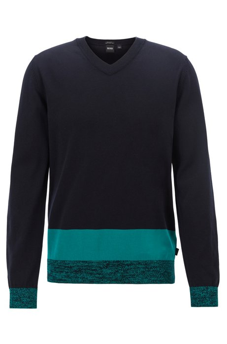 V-neck sweater in Italian Pima cotton with colourblock hem, Dark Blue