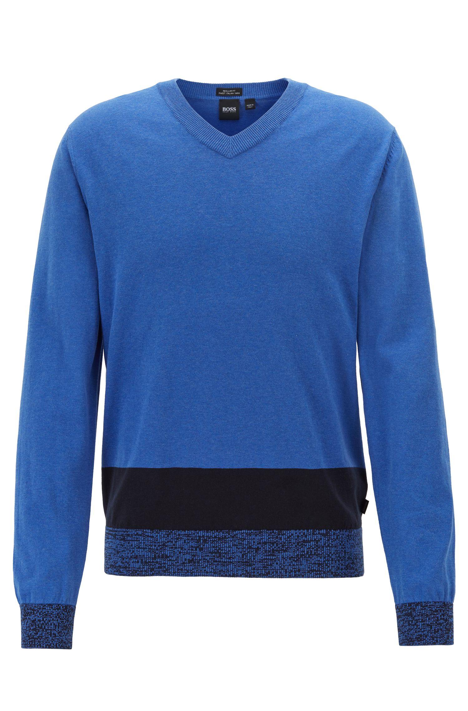 V-neck sweater in Italian Pima cotton with colourblock hem, Blue
