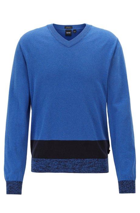 Maglione in cotone Pima italiano con scollo a V e orlo a blocchi di colore, Blu