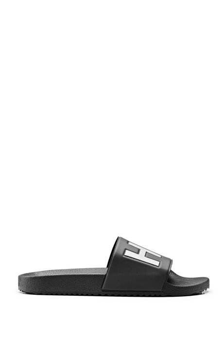 Italian-made slides with contrast-logo strap, Black