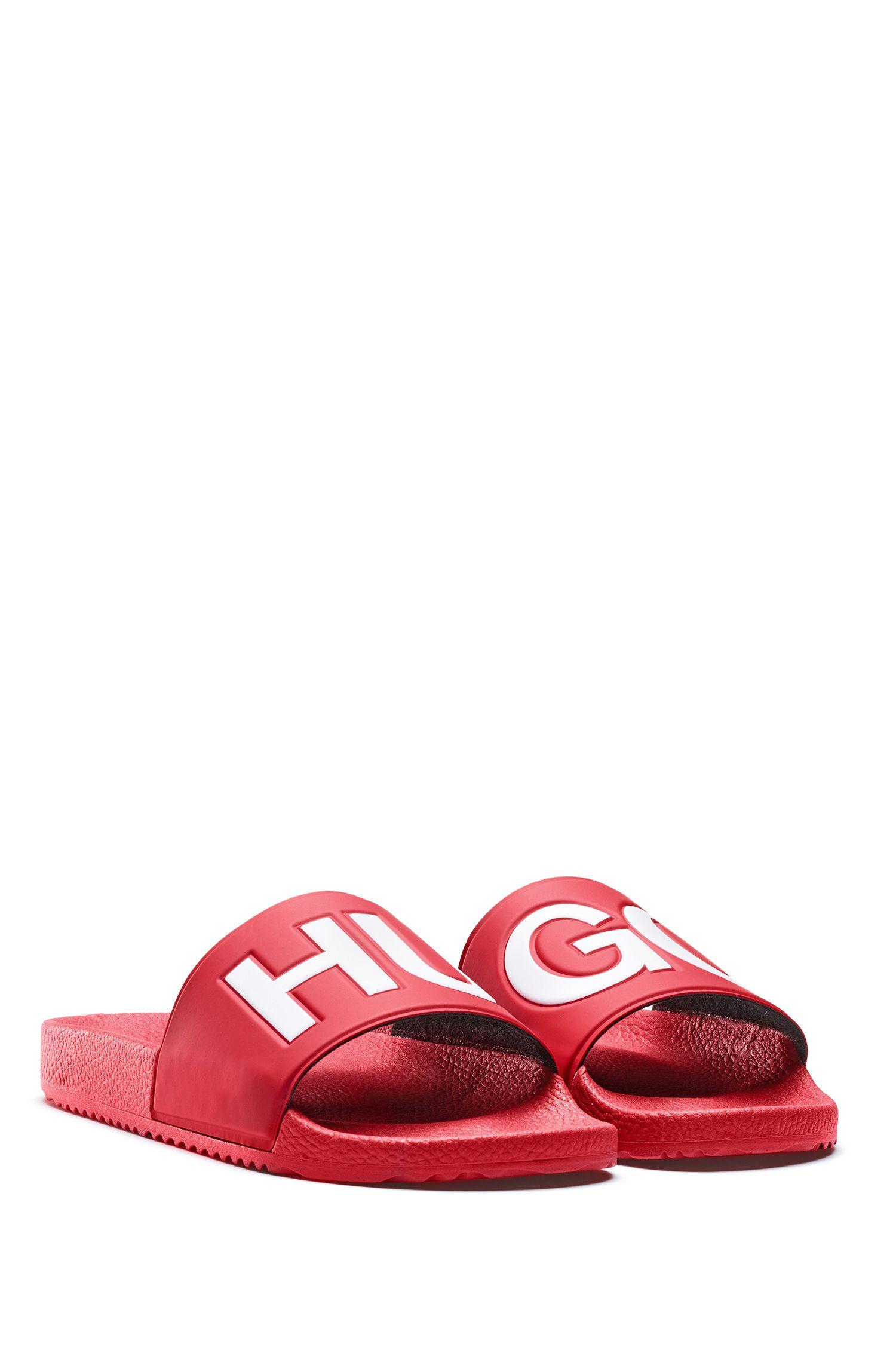 Sandali slider realizzati in Italia con cinturino con logo a contrasto, Rosso scuro