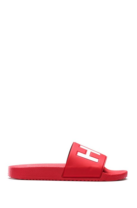 Italian-made slides with contrast-logo strap, Dark Red