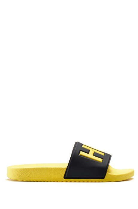 Italian-made slides with contrast-logo strap, Open Yellow