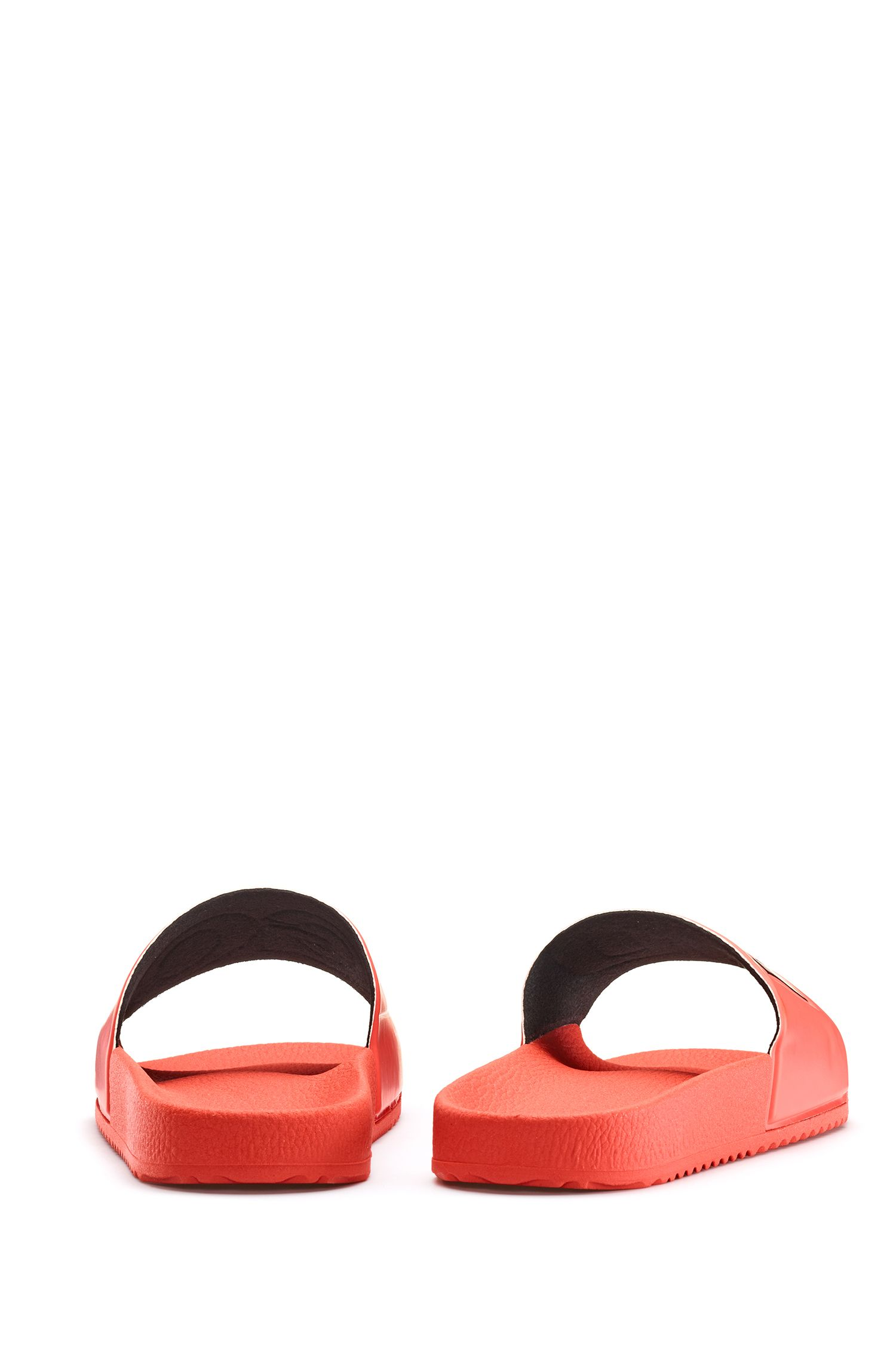 Italian-made slides with contrast-logo strap, Orange