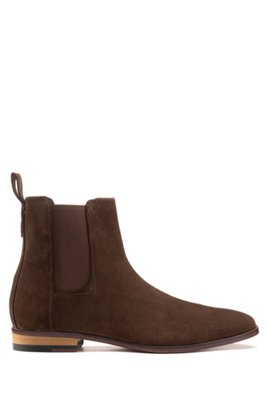 Suede Chelsea boots with a flex-foam insole, Dark Brown