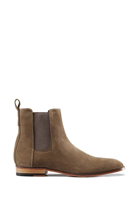 Suede Chelsea boots with a flex-foam insole, Khaki