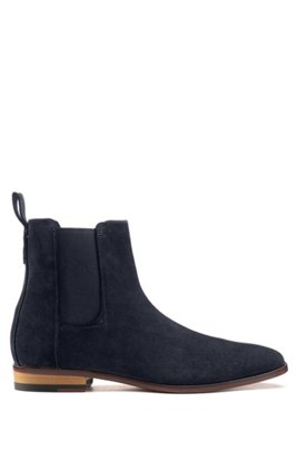 Suede Chelsea boots with a flex-foam insole, Dark Blue