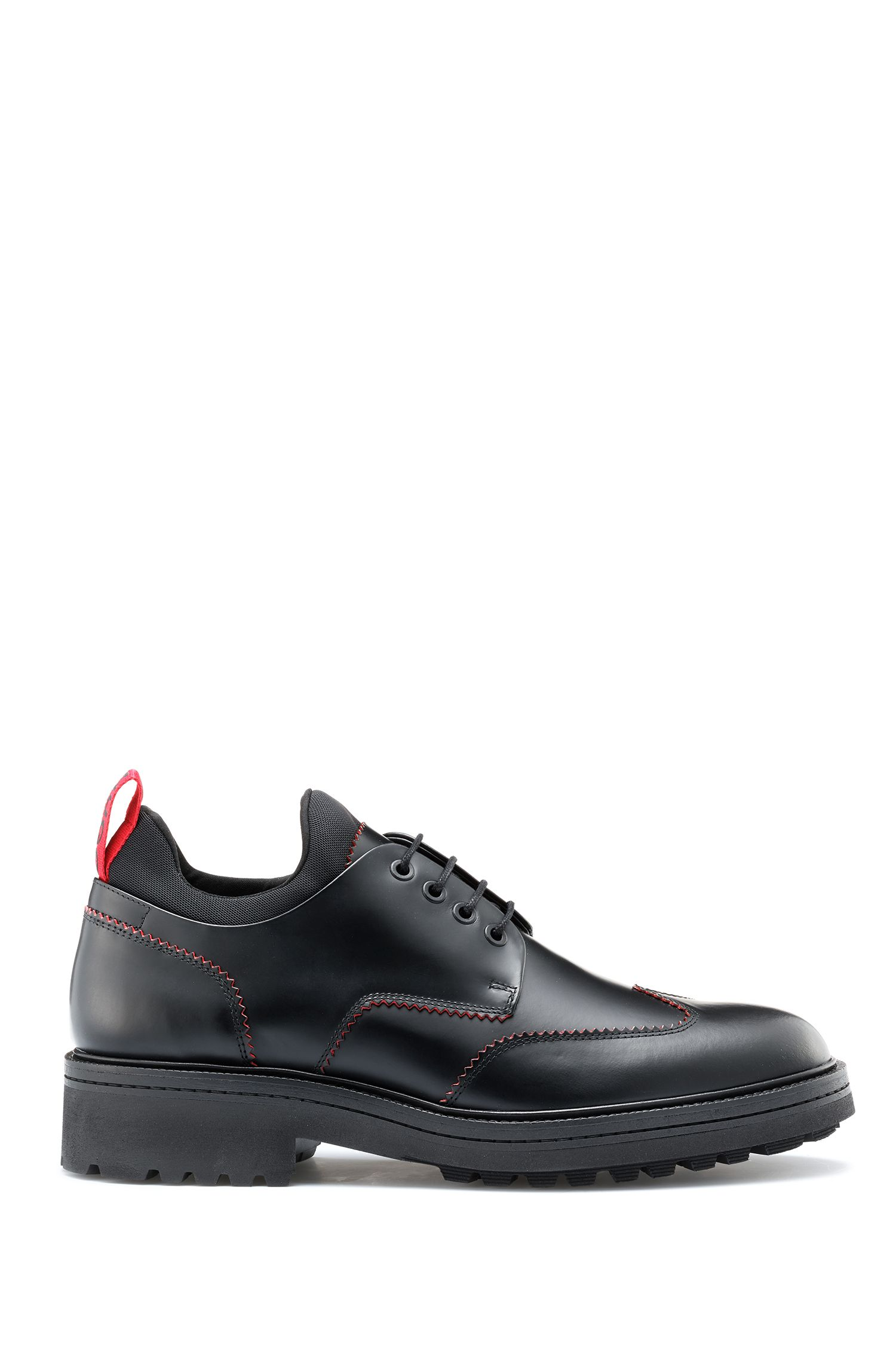 Derby shoes in brush-off leather with lug outsole, Black