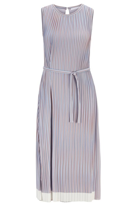 Belted plissé dress with colour-block hem, Patterned