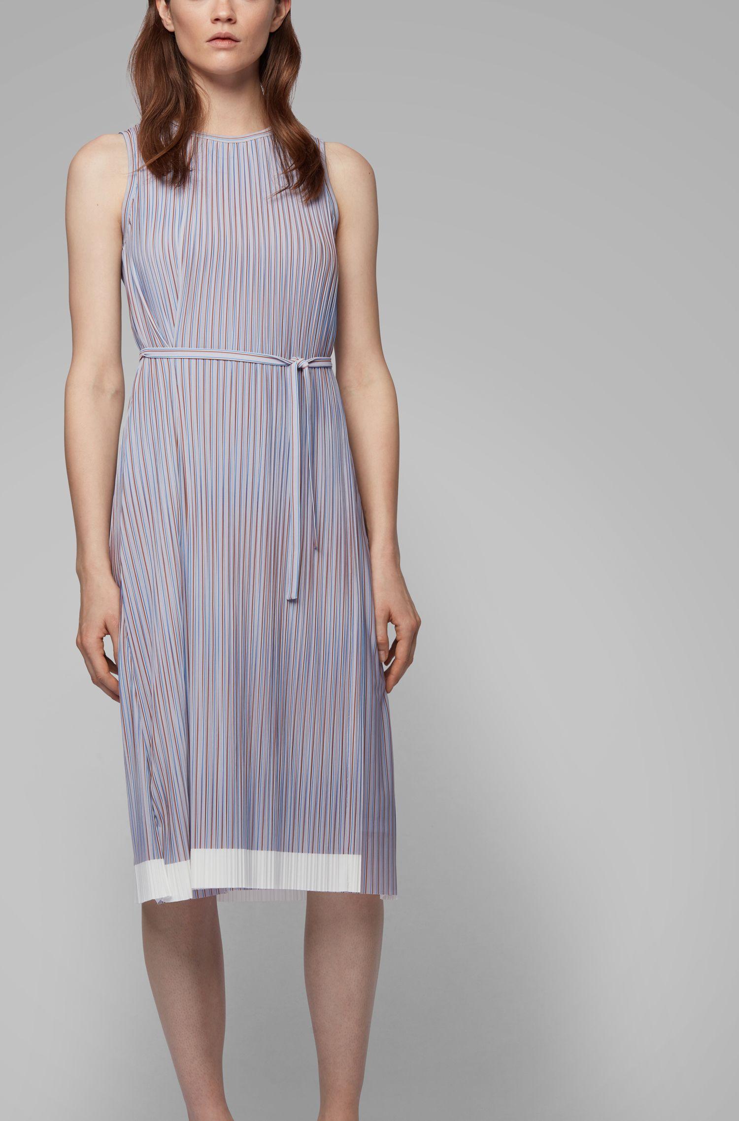 Belted plissé dress with colour-block hem, Patterned